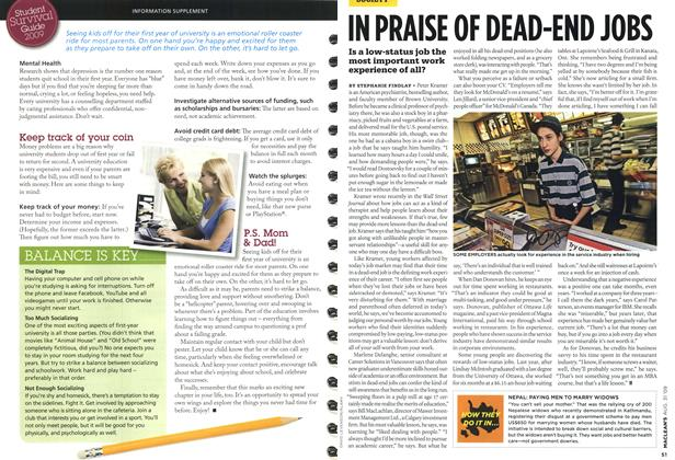 Article Preview: IN PRAISE OF DEAD-END JOBS, AUG. 31st 2009 2009 | Maclean's