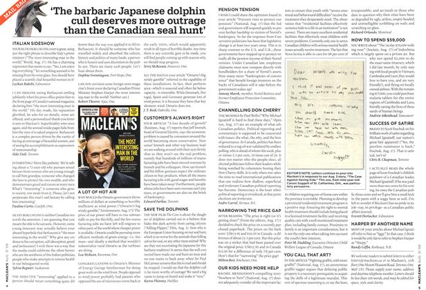 Article Preview: 'The barbaric Japanese dolphin cull deserves more outrage than the Canadian seal hunt', AUG. 31st 2009 2009 | Maclean's