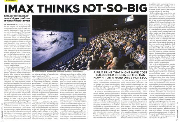 Article Preview: IMAX THINKS NOT-SO-BIG, SEPT. 7th 2009 2009 | Maclean's