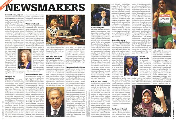 Article Preview: NEWSMAKERS, SEPT. 7th 2009 2009 | Maclean's