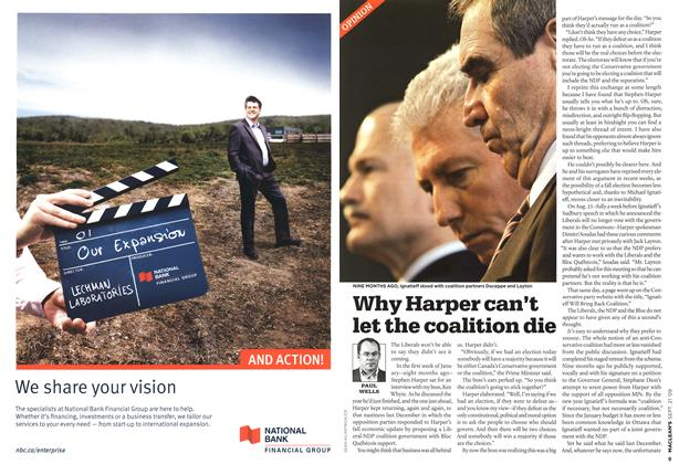 Article Preview: Why Harper can't let the coalition die, SEPT. 21st 2009 2009 | Maclean's