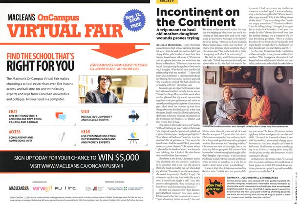 Article Preview: Incontinent on the Continent, SEPT. 28th 2009 2009   Maclean's