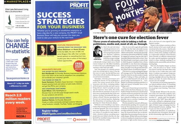 Article Preview: Here's one cure for election fever, SEPT. 28th 2009 2009 | Maclean's