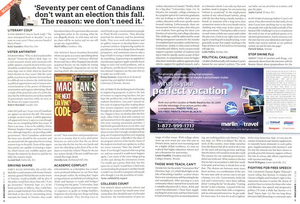 Article Preview: 'Seventy per cent of Canadians don't want an election this fall. The reason: we don't need it.', OCT. 5th 2009 2009 | Maclean's