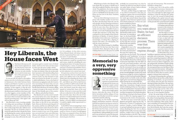Article Preview: Hey Liberals, the House faces West, OCT. 12th 2009 2009 | Maclean's