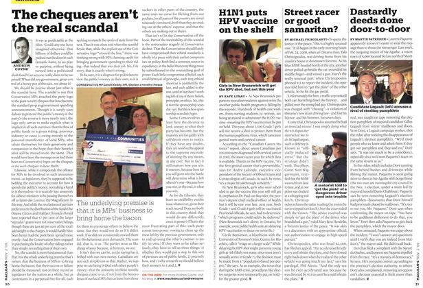 Article Preview: The cheques aren't the real scandal, NOV. 2nd 2009 2009 | Maclean's