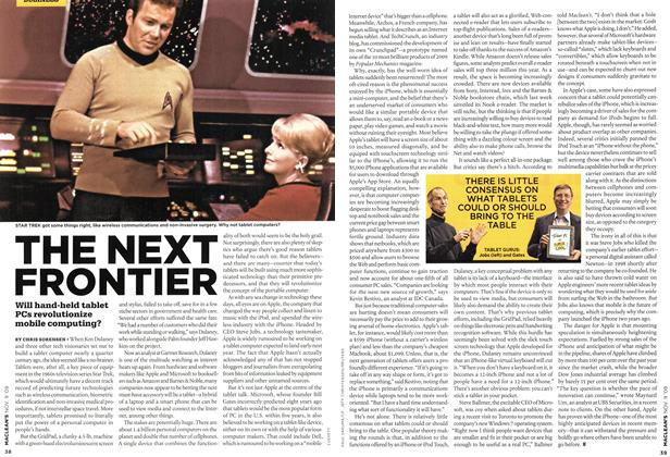 Article Preview: THE NEXT FRONTIER, NOV. 9th 2009 2009 | Maclean's