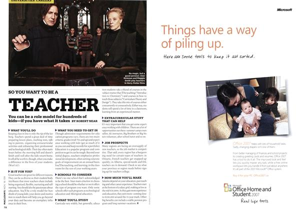 Article Preview: SO YOU WANT TO BE A TEACHER, NOV. 16th 2009 2009 | Maclean's