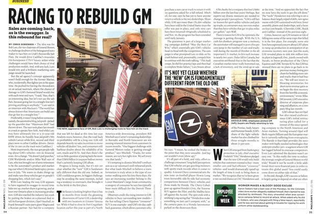 Article Preview: RACING TO REBUILD GM, NOV. 23rd 2009 2009 | Maclean's