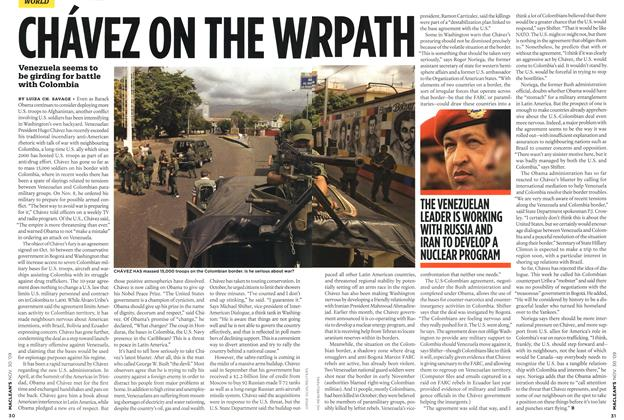 Article Preview: CHÁVEZ ON THE WARPATH, NOV. 30th 2009 2009 | Maclean's