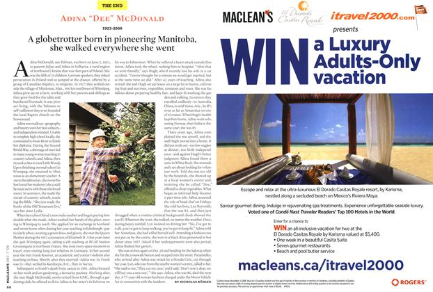 Article Preview: A globetrotter born in pioneering Manitoba, she walked everywhere she went, DEC. 7th 2009 2009 | Maclean's