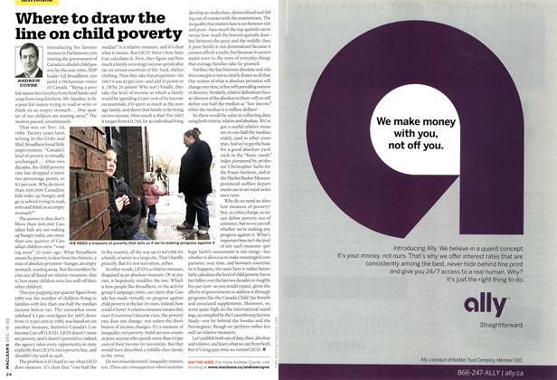 Article Preview: Where to draw the line on child poverty, DEC. 14th 2009 2009 | Maclean's
