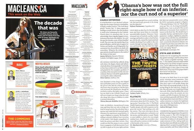 Article Preview: MAIL BAG, DEC. 28th 2009 2009 | Maclean's
