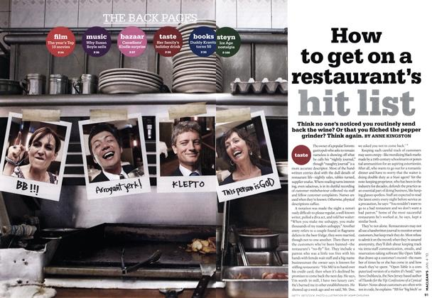 Article Preview: How to get on a restaurant's hit list, JAN. 4th 2010 | Maclean's