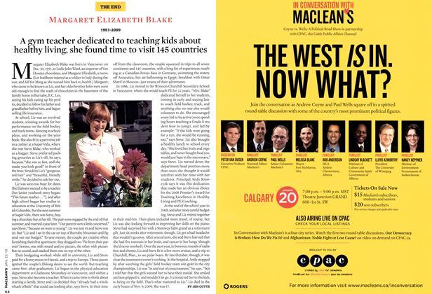 Article Preview: MARGARET ELIZABETH BLAKE 1951-2009, JAN. 25th 2010   Maclean's