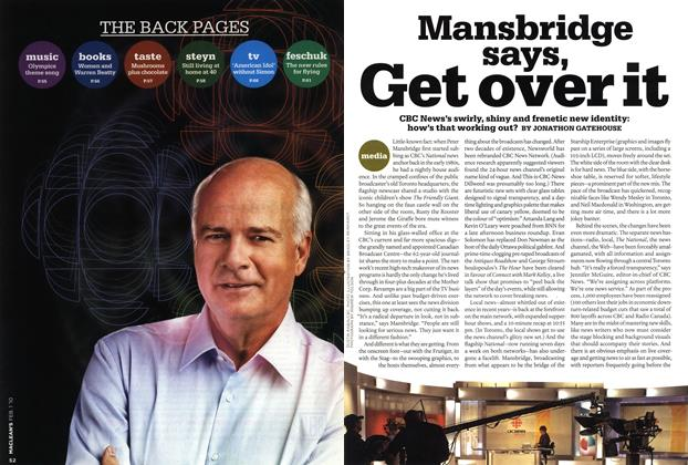 Article Preview: Mansbridge says, Get over it, FEB. 1st 2010 | Maclean's