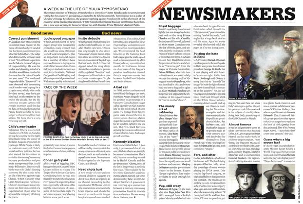 Article Preview: NEWSMAKERS, FEB. 1st 2010 | Maclean's