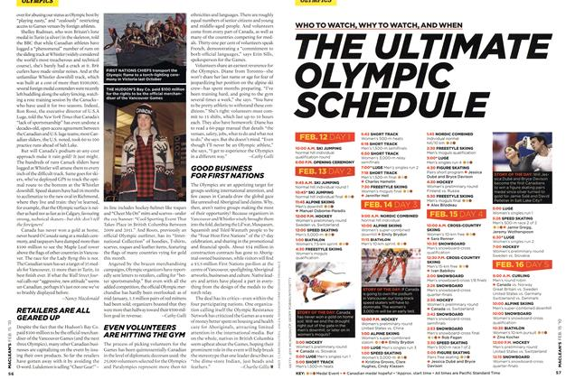 Article Preview: THE ULTIMATE OLYMPIC SCHEDULE, FEB. 15th 2010 | Maclean's
