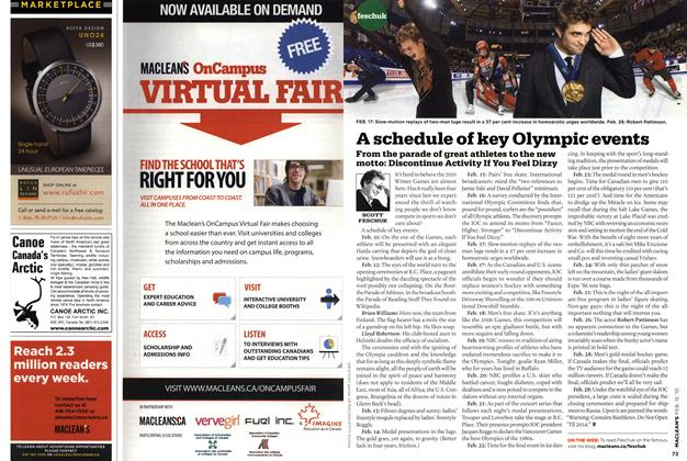 Article Preview: A schedule of key Olympic events, FEB. 15th 2010 | Maclean's