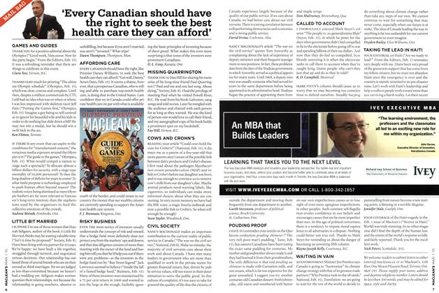 Article Preview: 'Every Canadian should have the right to seek the best health care they can afford', MAR. 1st 2010 | Maclean's