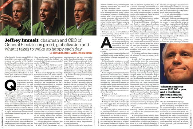 Article Preview: Jeffrey Immelt, chairman and CEO of General Electric, on greed, globalization and what it takes to wake up happy each day, MAR. 1st 2010 2010 | Maclean's
