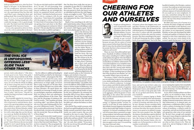 Article Preview: CHEERING FOR OUR ATHLETES AND OURSELVES, MAR. 8th 2010 | Maclean's