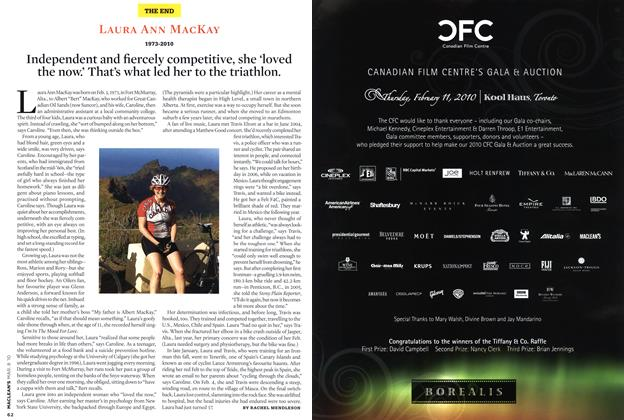 Article Preview: Independent and fiercely competitive, she 'loved the now.' That's what led her to the triathlon., MAR. 8th 2010 | Maclean's