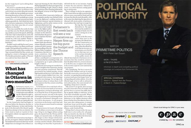 Article Preview: What has changed in Ottawa in two months?, MAR. 8th 2010 | Maclean's