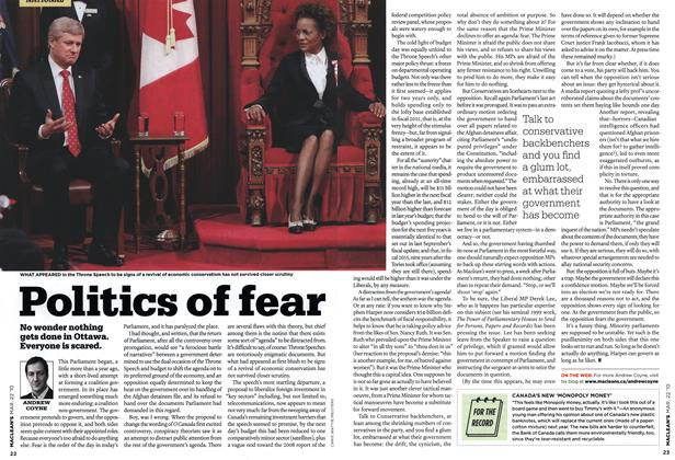 Article Preview: Politics of fear, MAR. 22nd 2010 | Maclean's
