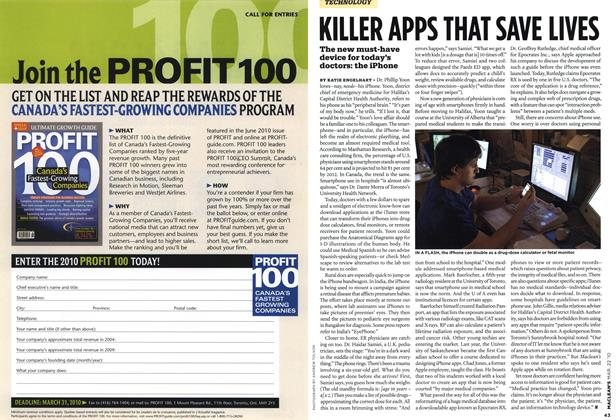 Article Preview: KILLER APPS THAT SAVE LIVES, MAR. 22nd 2010 2010 | Maclean's