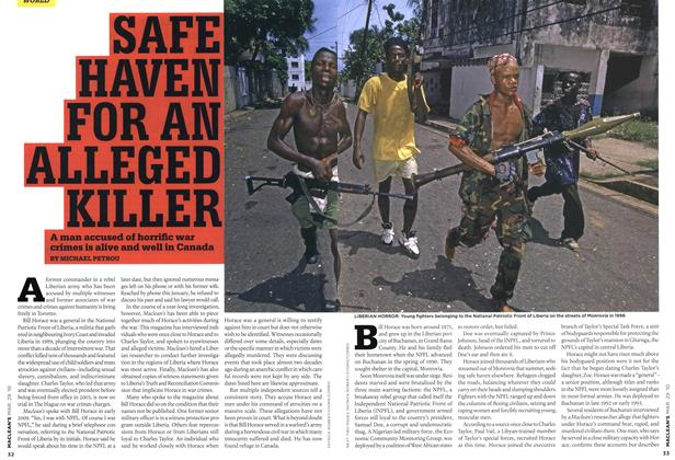 Article Preview: SAFE HAVEN FOR AN ALLEGED KILLER, MAR. 29th 2010 2010 | Maclean's