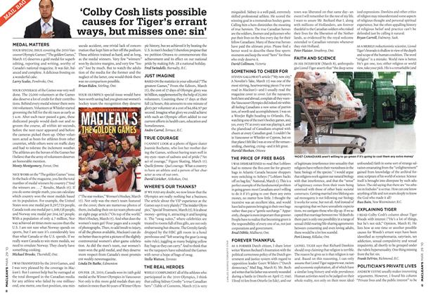 Article Preview: 'Colby Cosh lists possible causes for Tiger's errant ways, but misses one: sin', MAR. 29th 2010 | Maclean's