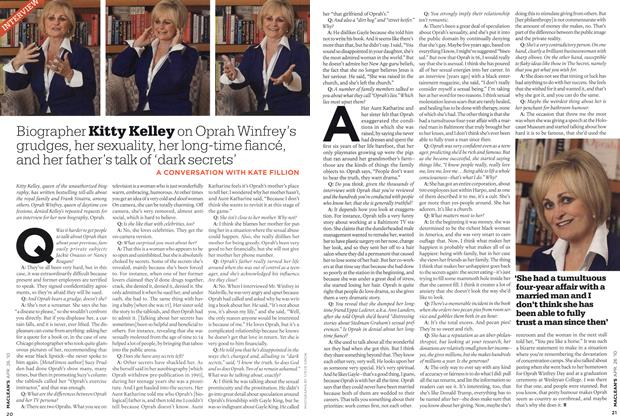 Article Preview: Biographer Kitty Kelley on Oprah Winfrey's grudges, her sexuality, her long-time fiancé, and her father's talk of 'dark secrets', APR. 26th 2010 | Maclean's