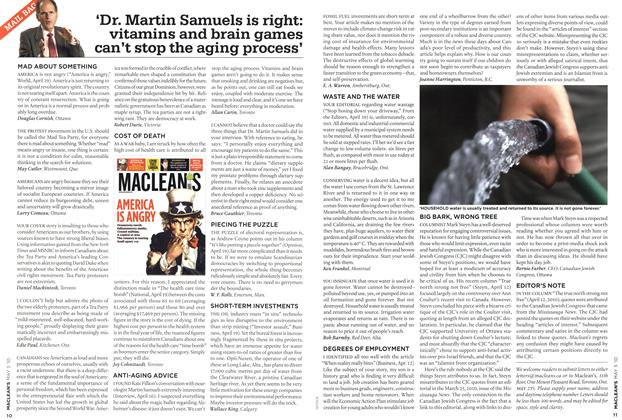 Article Preview: 'Dr. Martin Samuels is right: vitamins and brain games can't stop the aging process', MAY 3rd 2010 2010 | Maclean's