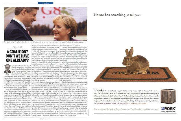 Article Preview: A COALITION? DON'T WE HAVE ONE ALREADY?, July 19th 2010 | Maclean's