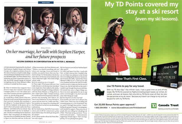 Article Preview: On her marriage, her talk with Stephen Harper, and her future prospects, August 16th 2010 | Maclean's