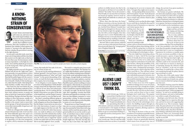 Article Preview: A KNOWNOTHING STRAIN OF CONSERVATISM, August 2010 | Maclean's