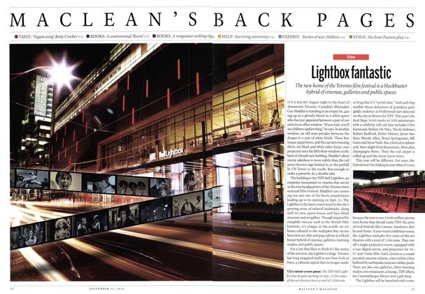 Article Preview: Lightbox fantastic, September 13th 2010 | Maclean's