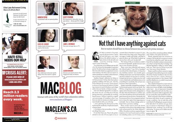 Article Preview: Not that I have anything against cats, September 13th 2010 | Maclean's