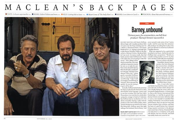 Article Preview: Barney, unbound, September 20th 2010 | Maclean's