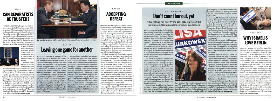 Article Preview: ACCEPTING DEFEAT, September 27th 2010 | Maclean's