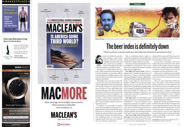 Article Preview: The beer index is definitely down, October 4th 2010 | Maclean's