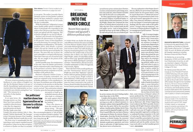 Article Preview: BREAKING INTO THE INNER CIRCLE, October 11th 2010 | Maclean's
