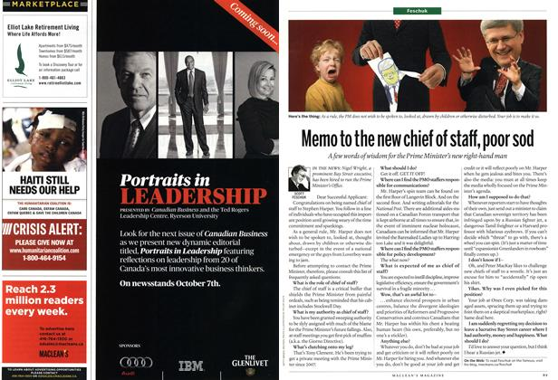 Article Preview: Memo to the new chief of staff, poor sod, October 11th 2010 | Maclean's