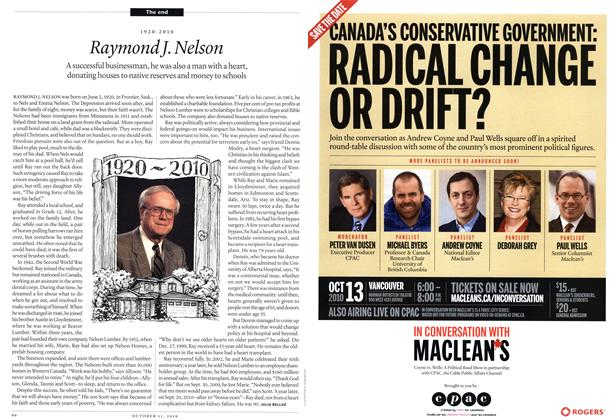 Article Preview: 1920-2010 Raymond J. Nelson, October 11th 2010 | Maclean's