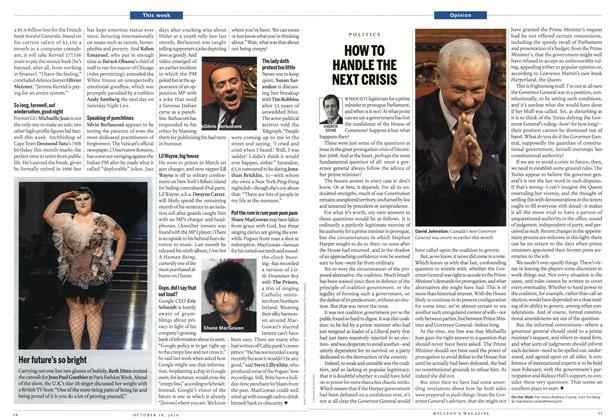 Article Preview: HOW TO HANDLE THE NEXT CRISIS, October 18th 2010 | Maclean's