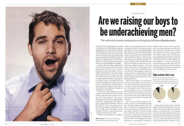 Article Preview: Are we raising our boys to be underachieving men?, October 25th 2010 | Maclean's