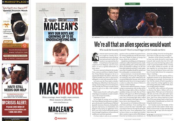 Article Preview: We're all that an alien species would want, November 1st 2010 | Maclean's