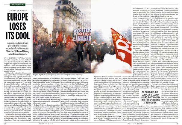 Article Preview: EUROPE LOSES ITS COOL, November 8th 2010 | Maclean's