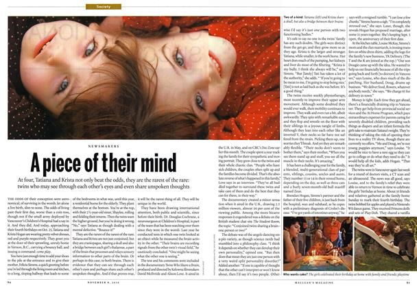 Article Preview: A piece of their mind, November 8th 2010 | Maclean's